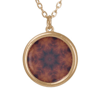 Amber medallion gold plated necklace