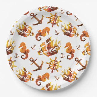 Amber nautical pattern custom background color 9 inch paper plate