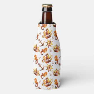 Amber nautical pattern custom background color bottle cooler