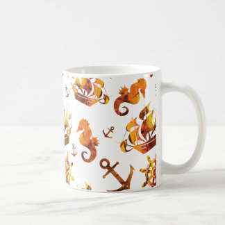 Amber nautical pattern custom background color coffee mug