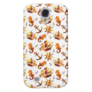 Amber nautical pattern custom background color galaxy s4 case