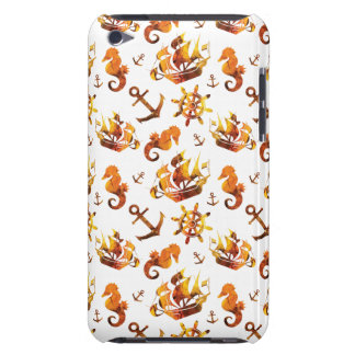 Amber nautical pattern custom background color iPod touch cover