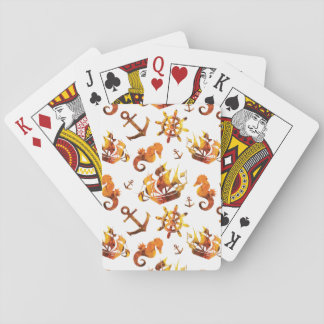 Amber nautical pattern custom background color playing cards