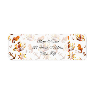Amber nautical pattern custom background color return address label