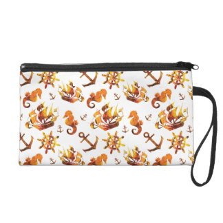 Amber nautical pattern custom background color wristlet