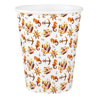 Amber nautical pattern paper cup