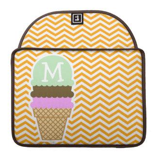 Amber Orange Chevron; Ice Cream Cone Sleeve For MacBooks