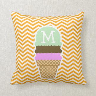 Amber Orange Chevron; Ice Cream Cone Throw Cushion