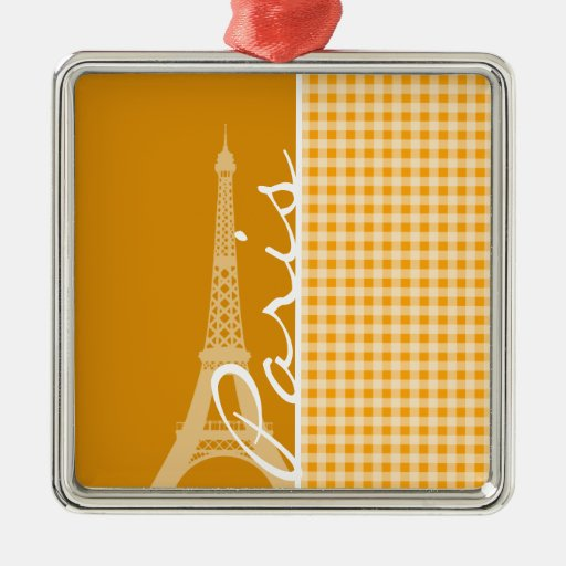 Amber Orange Gingham; Paris Ornaments