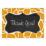 Amber Orange Giraffe Animal Print; Chalkboard Greeting Card