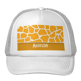Amber Orange Giraffe Print; Personalized Cap