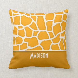 Amber Orange Giraffe Print; Personalized Cushion