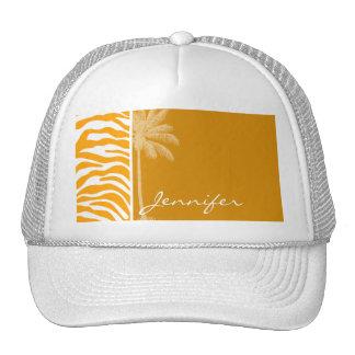 Amber Orange Zebra Animal Print; Summer Palm Trucker Hat