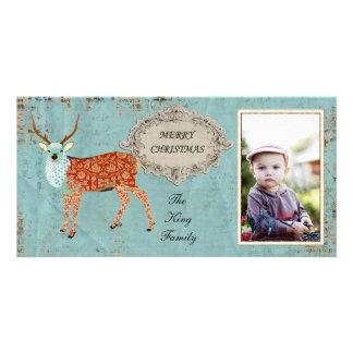 Amber Ornate Deer Christmas Photo Card
