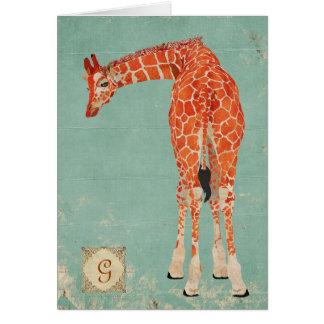 Amber Ornate Giraffe Monogram Notecard Greeting Cards