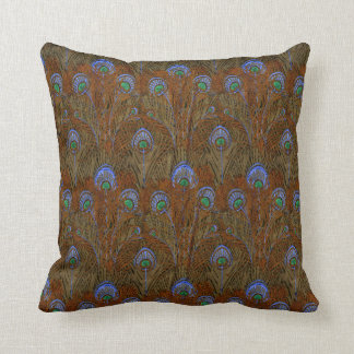 Amber Peacock Feathers Throw Pillow
