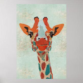 Amber Peeking Giraffe Art Poster