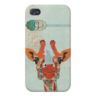 Amber Peeking Giraffe Monogram i iPhone 4 Case