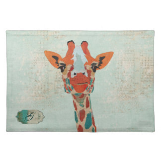 Amber Peeking Giraffe Monogram  Placemat