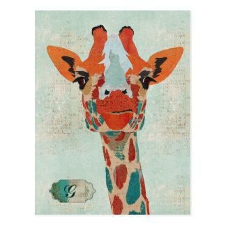Amber Peeking Giraffe Monogram Postcard