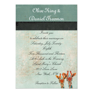 "Amber Peeking Giraffes  Wedding Invitation 5.5"" X 7.5"" Invitation Card"