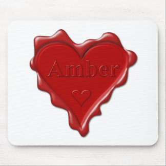 Amber. Red heart wax seal with name Amber Mouse Pad