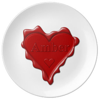 Amber. Red heart wax seal with name Amber Plate