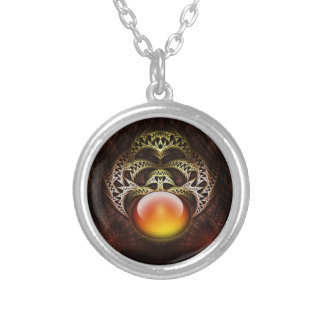 Amber Relic Silver Plated Necklace