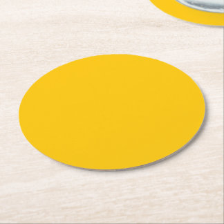 Amber Solid Colour Customise It Round Paper Coaster