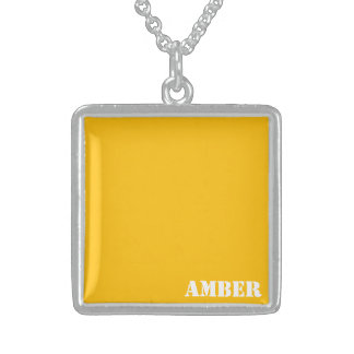 Amber Square Pendant Necklace