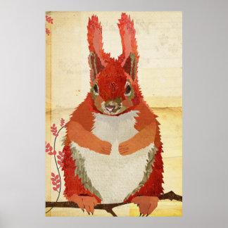 Amber Squirrel Art Poster