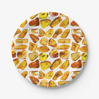 Amber stone inclusions paper plate