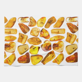 Amber stone inclusions tea towel