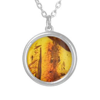 Amber stone silver plated necklace