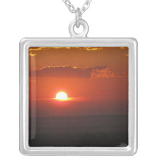 Amber Sunset Square Pendant Necklace
