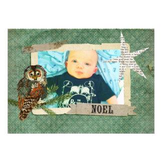 Amber Teal Owl Christmas Photo Card