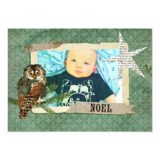 Amber & Teal Owl Christmas Photo Card 13 Cm X 18 Cm Invitation Card