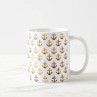 Amber texture anchors pattern coffee mug