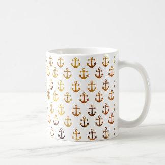 Amber texture anchors pattern coffee mug