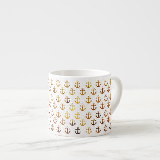 Amber texture anchors pattern espresso cup