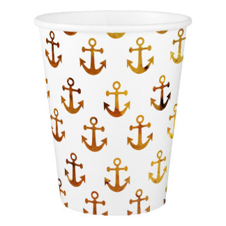 Amber texture anchors pattern paper cup