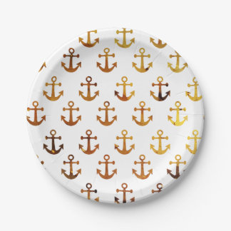 Amber texture anchors pattern paper plate