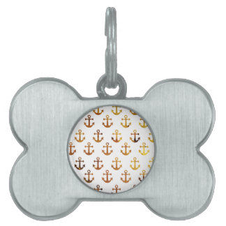 Amber texture anchors pattern pet name tag