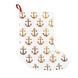 Amber texture anchors pattern small christmas stocking