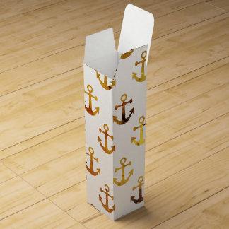 Amber texture anchors pattern wine box