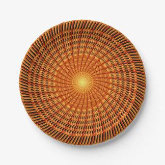 Amber Vortex Mandala 7 Inch Paper Plate