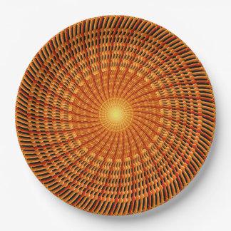 Amber Vortex Mandala 9 Inch Paper Plate