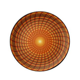 Amber Vortex Mandala Porcelain Plates
