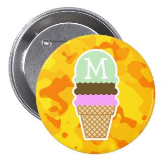Amber Yellow Camo; Ice Cream Cone Pin