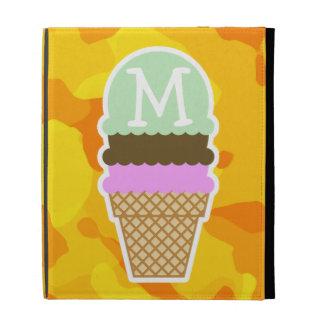 Amber Yellow Camo; Ice Cream Cone iPad Folio Cover